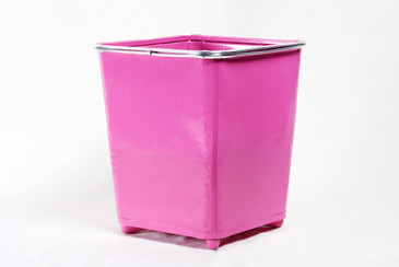 SOLD - Machine Age Steel Trash Can Refinished in Pink, Free Shipping