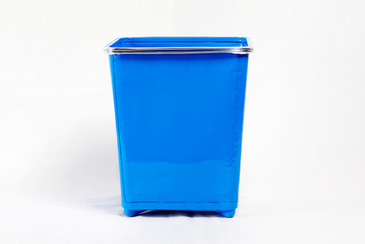 Machine Age Trash Can Refinished in Blue, Free Shipping