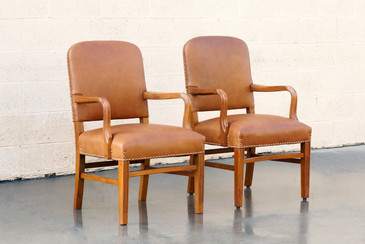 SOLD - Pair of Gunlocke Leather and Oak Armchairs, 1948