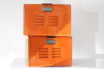 SOLD - 1950s Reclaimed Locker Basket Refinished in Tangerine, Free Shipping
