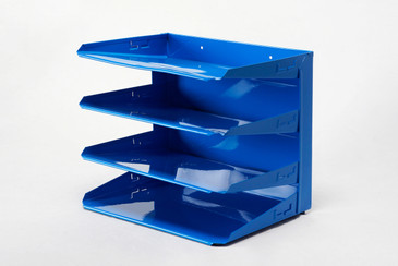 SOLD - Retro Office Mail File Organizer Refinished in Blue, Free Shipping