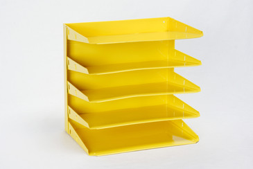SOLD - Retro Office Mail File Organizer Refinished in Yellow, Free Shipping