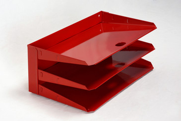 Mid Century Mail Organizer, Refinished in Red, Free Shipping