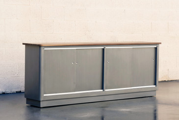 SOLD - Custom Tanker Style Steel Credenza with Walnut Top