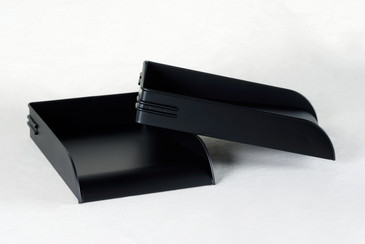 SOLD - 1930s Steel Letter Tray Refinished in Matte Black, 3 Available, Free Shipping