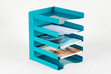 SOLD - 1960s Office Mail Organizer/ Magazine Rack Refinished in Teal, Free Shipping
