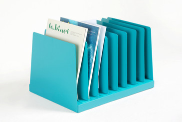 Retro Office Mail Organizer/ Magazine Rack Refinished in Turquoise, Free Shipping