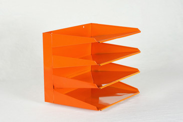 SOLD - Retro Office File Organizer, Refinished in Tangerine, Free Shipping