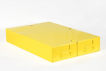 SOLD - 1940s Card Catalog File Drawers, Refinished in Gloss Yellow, Free Shipping