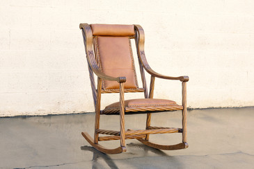Victorian Twist Oak Rocking Chair in the Style of George Hunzinger