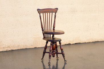 SOLD - Antique Music Stool with Claw and Glass Ball Foot