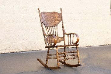 SOLD - Vintage Oak Rocking Chair with Pressed Back Design