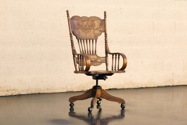 SOLD - Antique Pressed Back Oak Steno Chair