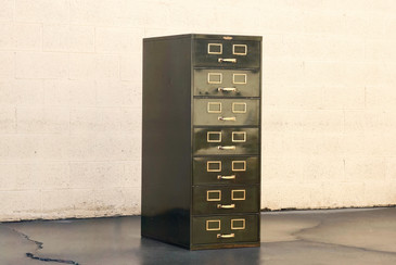 SOLD - 1930s Multi Drawer Card Filing Cabinet by Remington Rand
