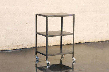Custom Made Industrial Steel Rolling Cart with Patina