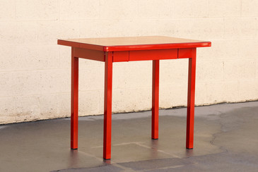 SOLD - Petite Four-Legged Tanker Table with Drawer, Refinished