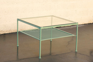 1930s Steel and Glass Square Patio Table, Refinished