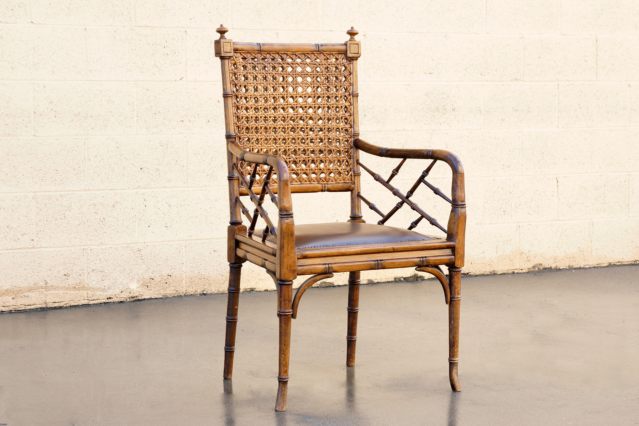 Sold Vintage Bamboo Cane And Leather Armchair
