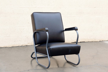 1930s Art Deco Leather and Steel Armchair, Refinished