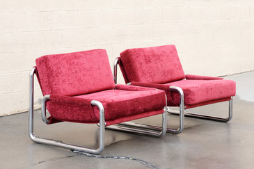 SOLD - Pair of 1970s Chrome Lounge Chairs
