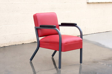 1950s Steel and Deerskin Leather Armchair, Refinished