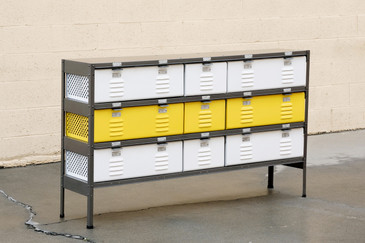 Custom Made 5 x 3 Locker Basket Unit with Specialty Double-Wide Baskets