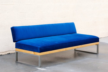 Custom Made Steel, Alder and Velvet Daybed, 1950s Inspired