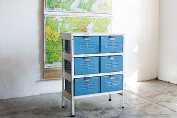 2 x 3 Vintage Locker Basket Unit with Sky Blue Drawers