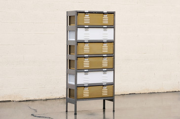 Custom Made 1 x 6 Locker Basket Unit with Specialty Double-Wide Baskets
