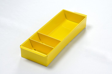 SOLD - Steel Tanker Drawer Insert/ Organizer, Refinished in Mellow Yellow, Free Shipping
