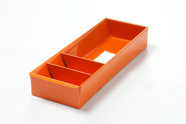 SOLD - Steel Tanker Drawer insert/ Organizer, Refinished in Tangerine, Free Shipping