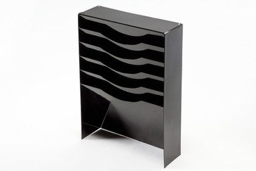 SOLD - Vintage Tanker Drawer Insert Repurposed as File Holder/ Magazine Rack, Refinished in Black, Free Shipping