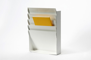 SOLD - 1960s Steel File Holder/ Magazine Rack, Refinished in Gloss White