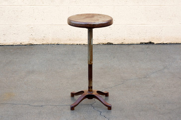 SOLD - Antique Steel Stool with Distressed Patina, 1930s, Free Shipping