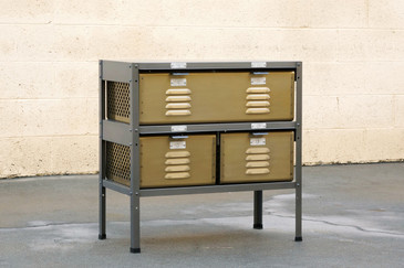 2 x 2 Locker Basket Unit, Vintage Inspired and Newly Fabricated to Order