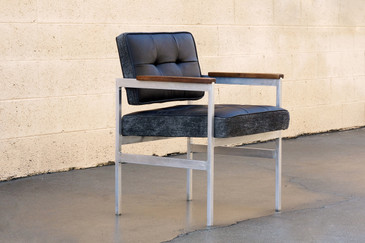 SOLD - 1960s Knoll Style Armchair in Aluminum, Leather and Walnut