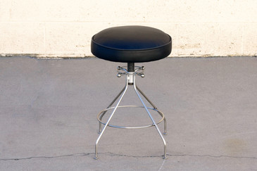 SOLD - 1960s Sputnik Style Stool, Steel and Leather