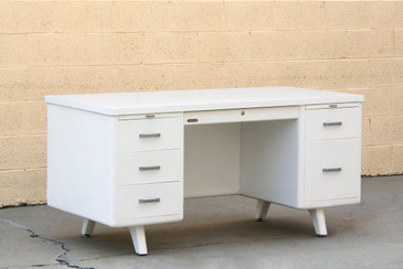 Mid Century Tanker Desk Custom Refinished in White