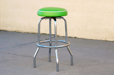1950s Chrome Diner Stool with Green Seat, Free Shipping