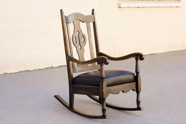 SOLD - Antique Mission Style Rocking Chair, Refinished Maple and Leather