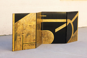 SOLD - Antique Art Deco Gold Leaf and Black Lacquer Folding Screen, 1930s