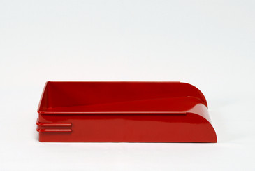 SOLD - 1930s Steel Letter Tray Refinished in Gloss Red, Free Shipping