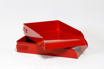 1930s Steel Letter Tray Refinished in Gloss Red, 2 Available, Free Shipping