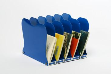 1940s Desktop File Holder, Refinished in Royal Blue- Free Shipping