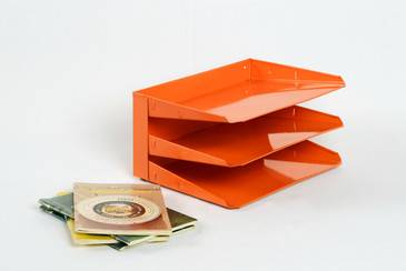 SOLD - Mid Century Office File Organizer, Refinished in Tangerine, Free Shipping