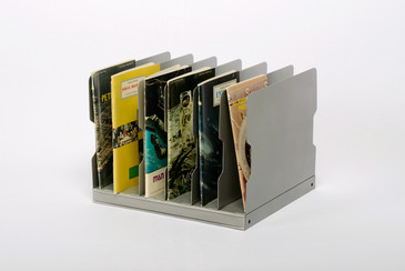 1940s Desktop Memo/ File Holder, Refinished in Metallic Silver, Free Shipping