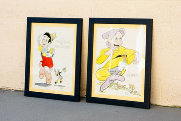 Pair of Original Disney Illustrations by Early Disney Animator George Rowley, 1940s