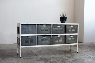 4 x 2 Vintage Locker Basket Unit with Natural Steel Bins