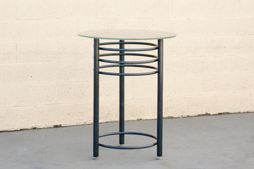 Vintage Contemporary Steel Cocktail, Refinished in Metallic Gray, Free U.S. Shipping