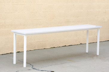 Tanker Inspired Steel Console Table in Gloss White, Custom